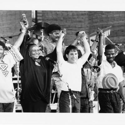 Joseph Shabalala, Miriam Makeba, Okyerema Asante, Paul Simon and Ray Phiri. Photo: Courtesy of Paul Simon Private Collection by Luise Gubb