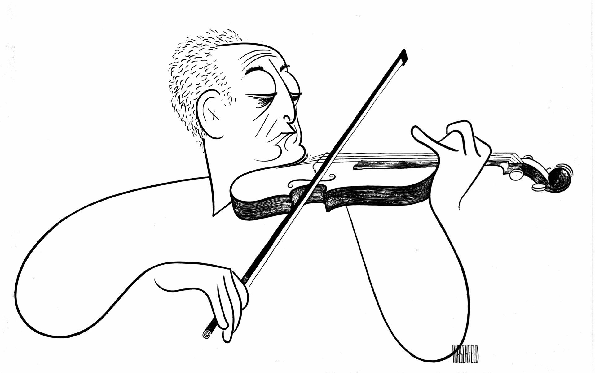 Drawn violinist  Pencil and in color drawn violinist