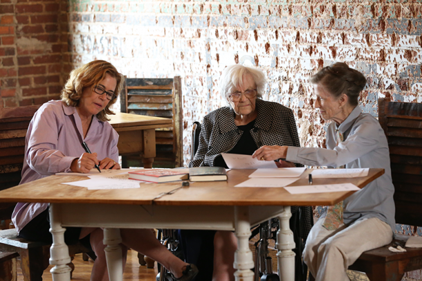 Filmmaker Mary McDonagh Murphy (left), with Harper Lee (center) and Lee's friend Joy Brown (right) on June 30, 2015. Credit: 2015 Mary Murphy Company LLC