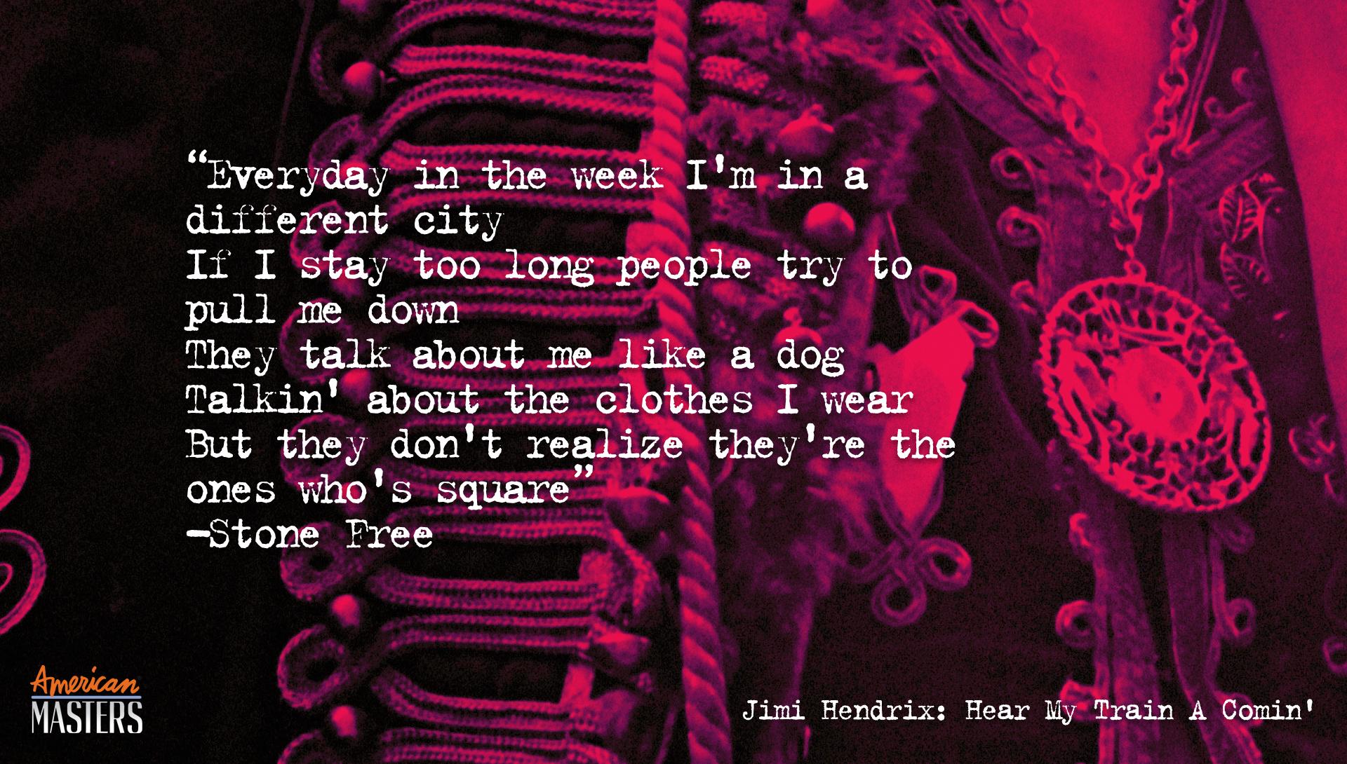 Jimi Hendrix Stone Free Lyric