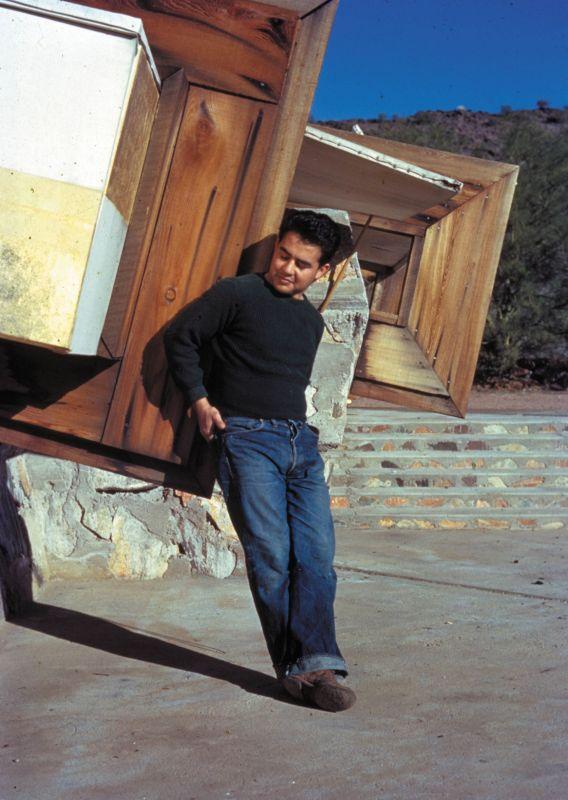 Pedro E. Guerrero, age 22, at Taliesin West, architect Frank Lloyd Wright's home. Self portrait. ©2015 Pedro E. Guerrero Archives.