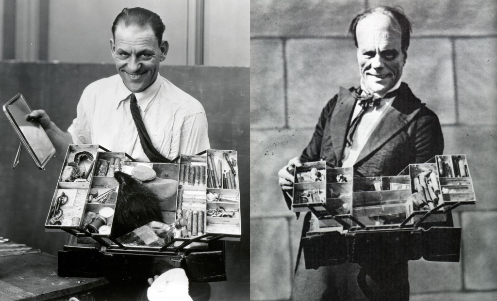 Lon Chaney with his makeup kit (left), and as Erik (the phantom) in Phantom of the Opera (1925).