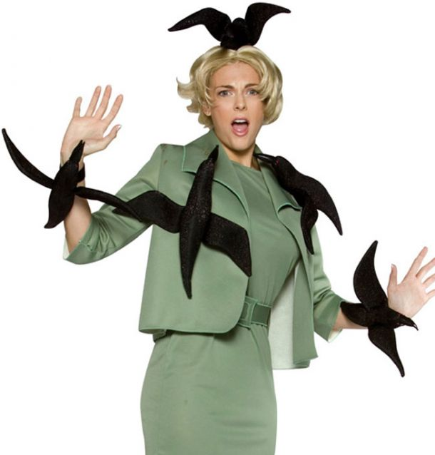Costume: Tippi Hedren in The Birds, directed by Alfred Hitchcock. You can use construction paper to make crows.