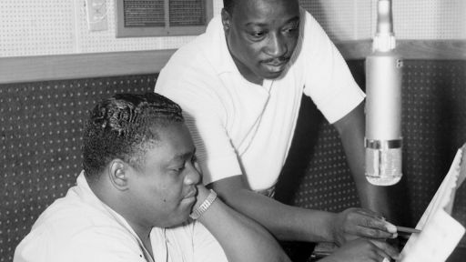 Fats Domino and Dave Bartholomew in New Orleans studio