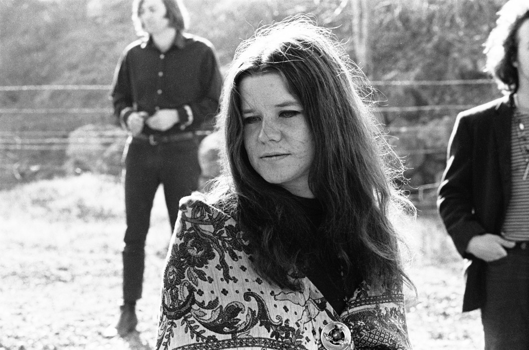 Janis Joplin, Big Brother and the Holding Company on photo shoot in Woodacre, CA, 1967