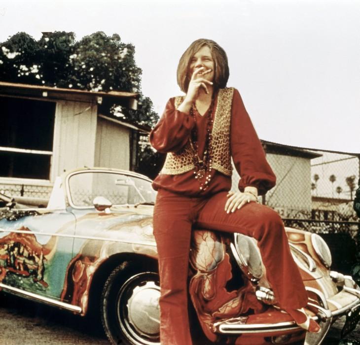 Janis Joplin on car
