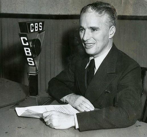 Publicity photo of Charlie Chaplin on CBS radio, 1933.