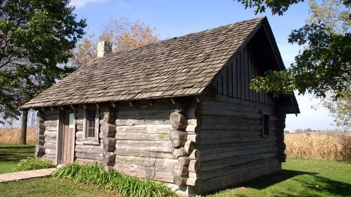 "A replica of the house that was described in the book ""Little House in the Big Woods"" near Pepin, Wisconsin."