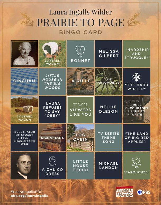 """A bingo card with words and graphics to accompany the film """"Laura Ingalls Wilder: Prairie to Page."""""""