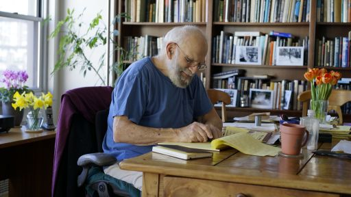 What was on Oliver Sacks' bookshelf?
