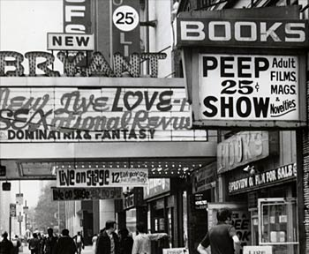 The peep shows and porn theaters that lined the streets of Times Square.