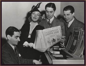 Berlin with the stars of the film ALEXANDER'S RAGTIME BAND, Alice Faye, Tyrone Power, and Don Ameche.