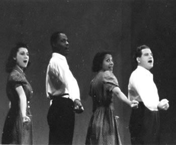 "Singers in the pro-union musical ""Pins and Needles."""