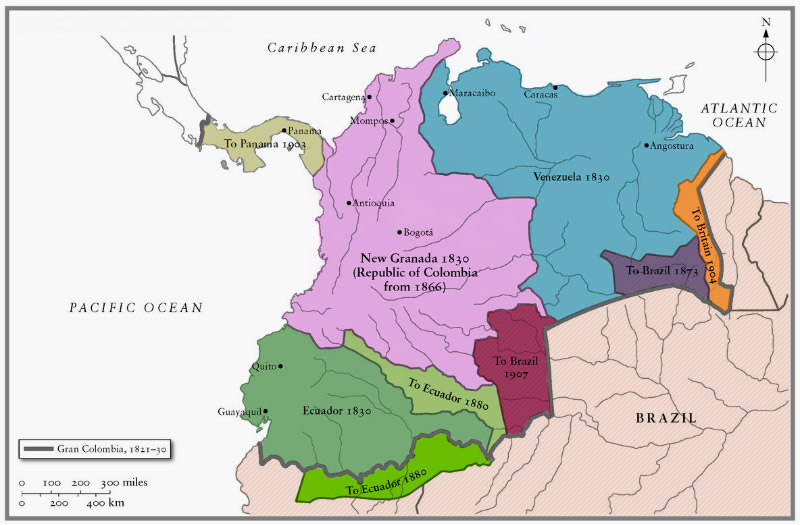 Gran Colombia Map Map: American Expansion   U.S.A. and Gran Colombia | The Killer