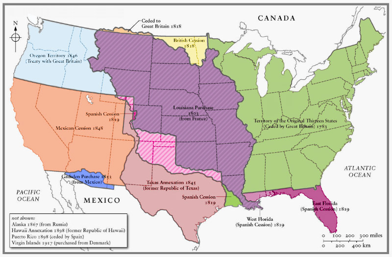 Map American Expansion USA And Gran Colombia The Killer - Us land acquisition map