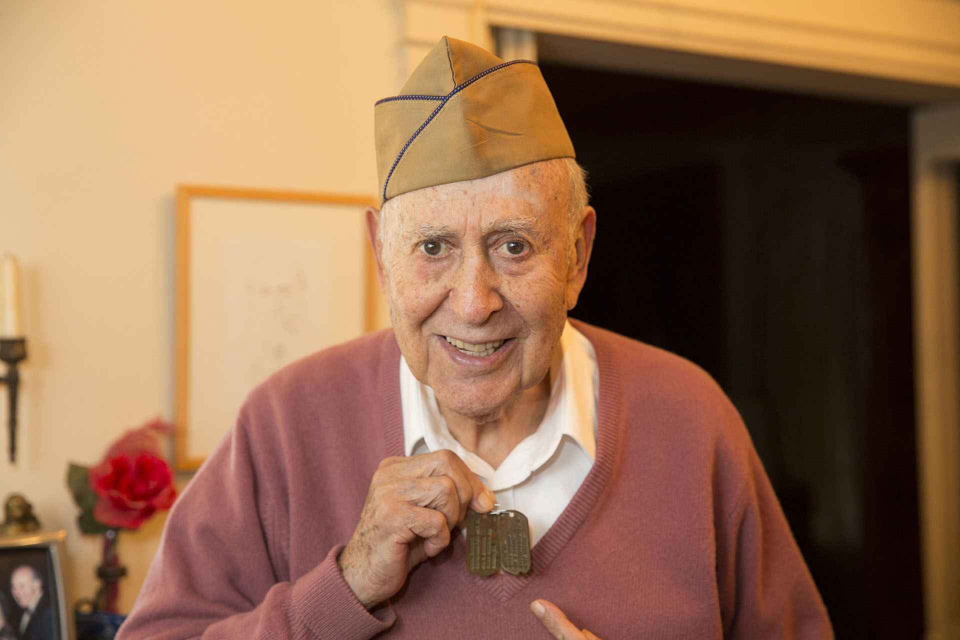 Carl Reiner with his WWII dog tag