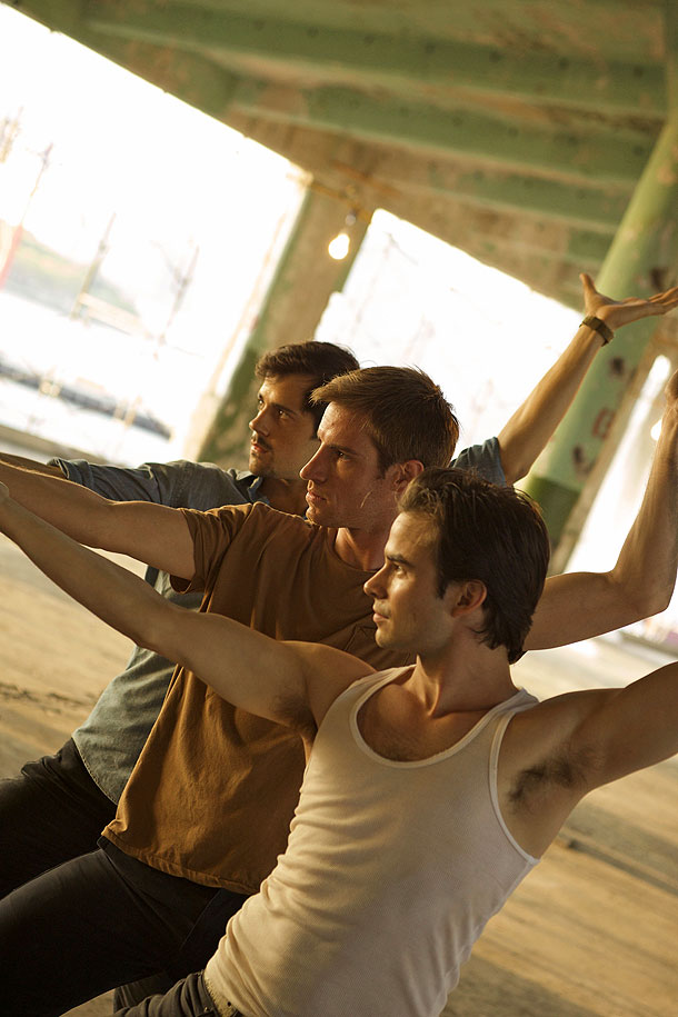 "Adam Hendrickson, Robert Fairchild and Andrew Veyette in the ""Statics"" section filmed in Red Hook, Brooklyn."