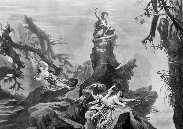 a monochrome photograph taken of Joseph Hoffman's set designs for Wagner's Der Ring des Nibelungen opera in 1876.