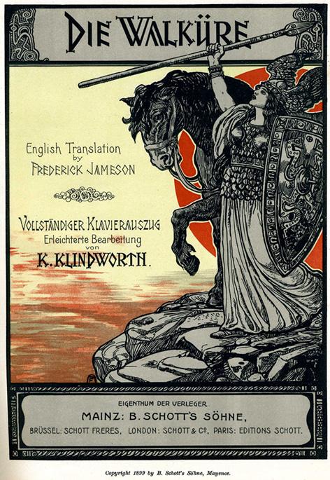 Art title page for Schott's vocal score of Wagner's opera Die Walküre, 1899. Public Domain.