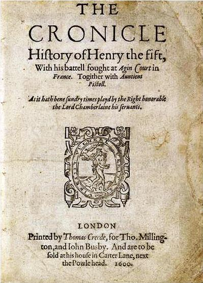 "Title page of ""The Chronicle History of Henry Fift"" (1600)"