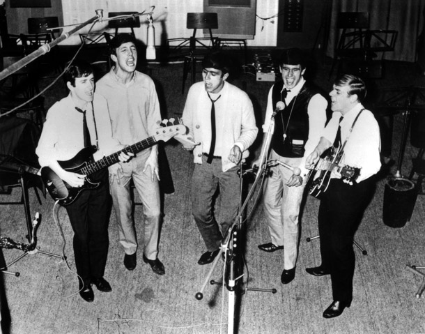 The Dave Clark Five in the studio. Left to right: Rick Huxley (d. 2013), Mike Smith (d. 2008), Dave Clark,  Denis Payton (d. 2006), and Lenny Davidson