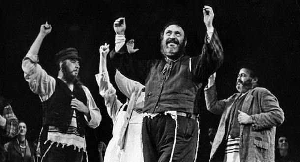 "Zero Mostel performs ""Tradition"" in the 1964 Broadway production of Fiddler on the Roof. Photo:  Photofest, Inc."