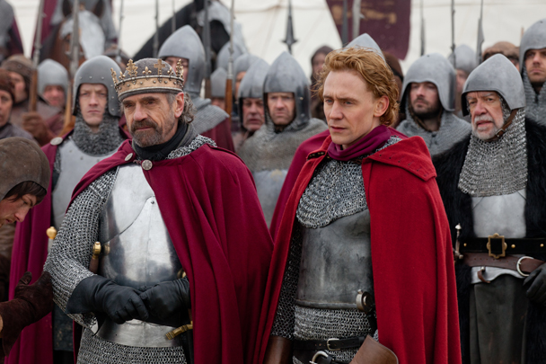 "Jeremy Irons as King Henry IV, Tom Hiddleston as Prince Hal in ""The Hollow Crown: Henry IV Part One."" Photo by Joss Barratt"