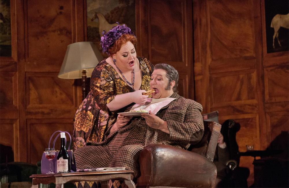 Stephanie Blythe as Mrs. Quickly and Ambrogio Maestri in the title role of Falstaff.