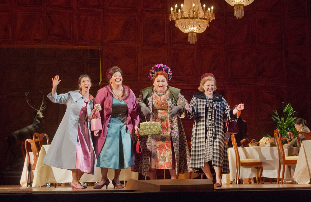 Lisette Oropesa as Nannetta, Angela Meade as Alice, Stephanie Blythe as Mrs. Quickly, and Jennifer Johnson Cano as Meg Page in Verdi's Falstaff.