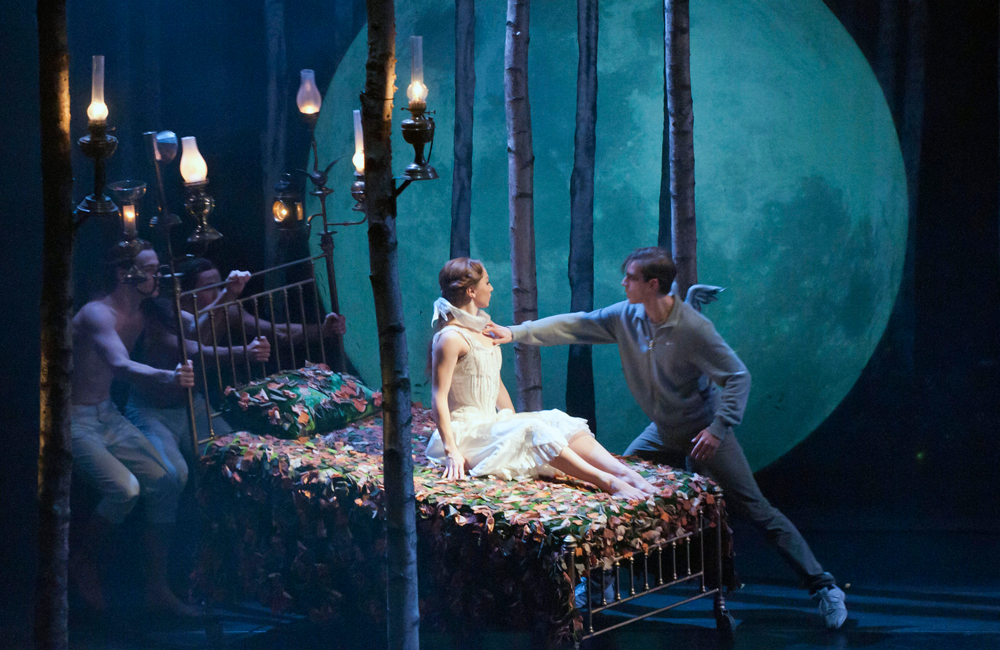 Aurora awakens from her spell to reunite with Leo, who also is still alive after 100 years, in Matthew Bourne's Sleeping Beauty.