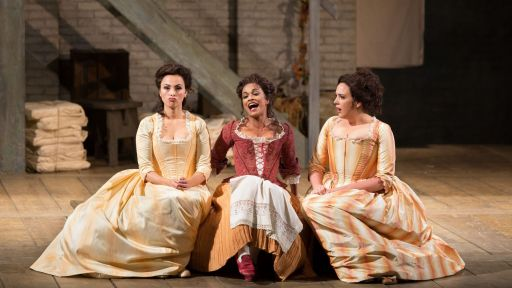 l to r: Isabel Leonard as Dorabella, Danielle de Niese as Despina, and Susanna Phillips as Fiordiligi in Cosi Fan Tutti