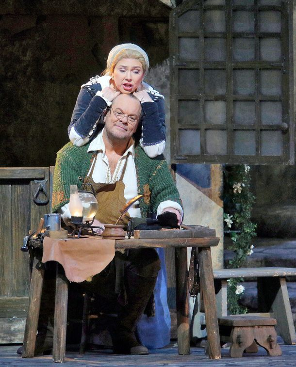 Annette Dasch as Eva and Michael Volle as Hans Sachs in Wagner's Die Meistersinger von Nürnberg. Photo: Ken Howard/Metropolitan Opera