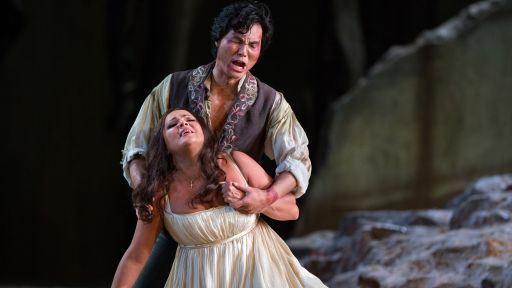 "Yonghoon Lee as Manrico and Anna Netrebko as Leonora in ""Great Performances at the Met: Il Trovatore."""