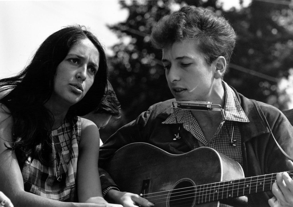 Joan Baez and Bob Dylan in 1963 during the March on Washington.