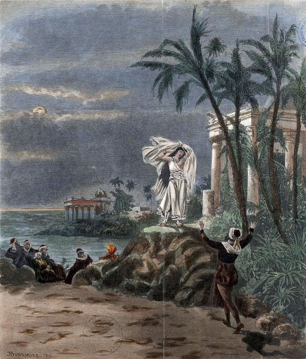 Illustration for the final scene of act 1 (duet of Leïla and Nadir) in the opera Les pêcheurs de perles by Georges Bizet, as produced at La Scala on 20 March 1886, the Milan premiere. Image from Wikimedia Commons