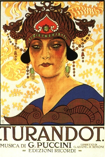 Promotional poster for Giacomo Puccini's opera Turandot, in 25 April 1926.