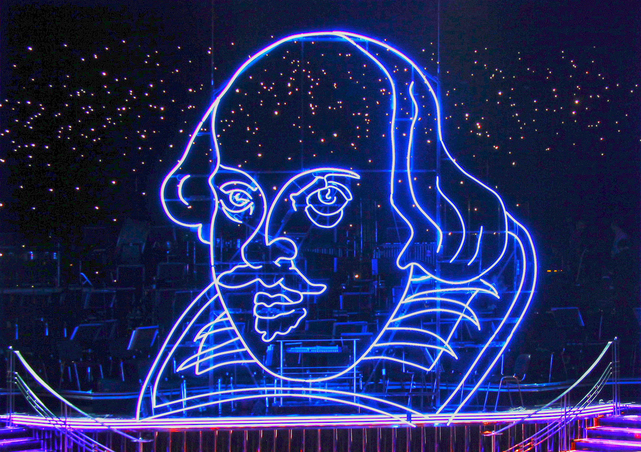Neon Head of Shakespeare. Credit: Andy Williams © RSC