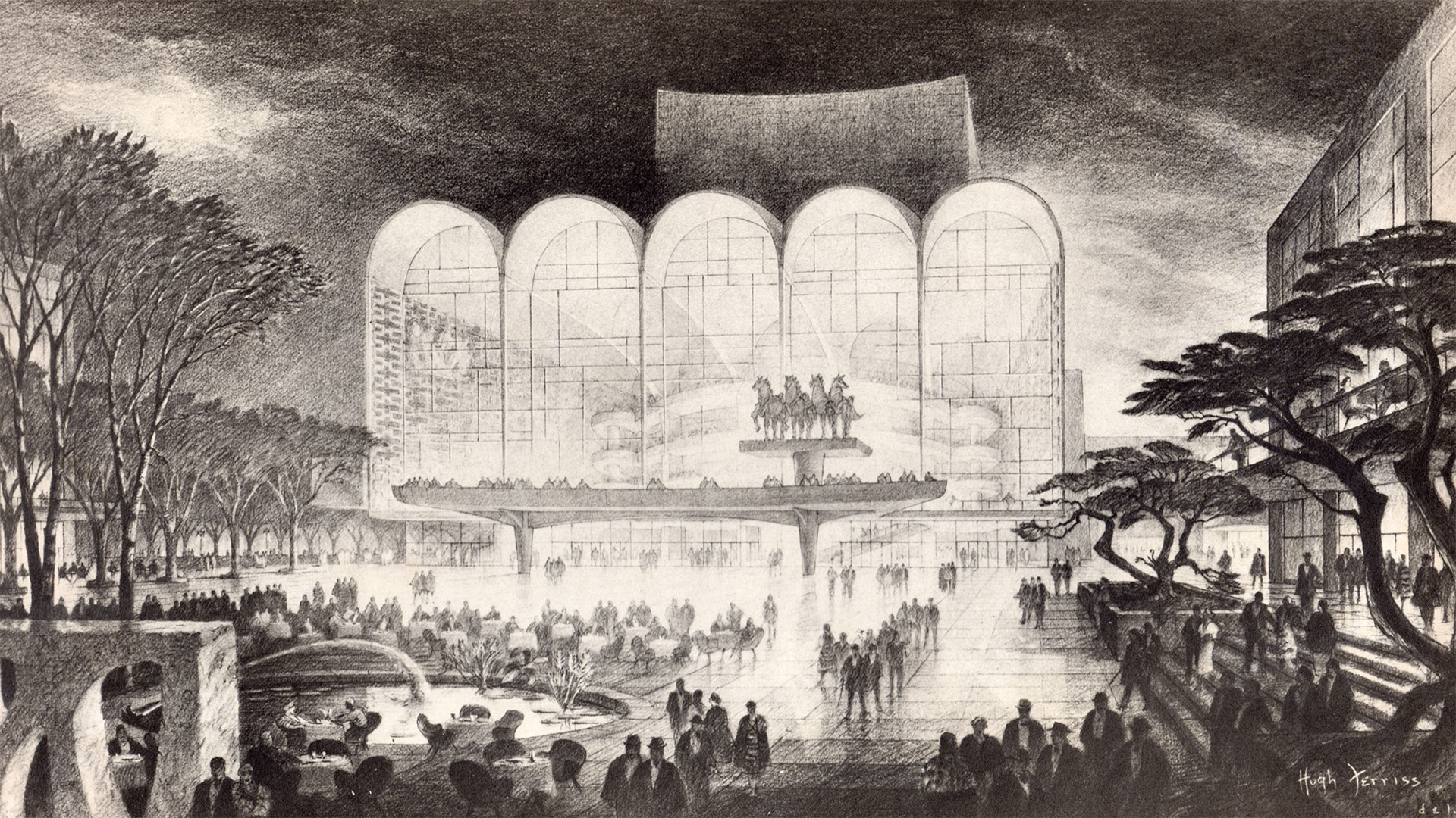 An early Wallace K. Harrison design for the new opera house at Lincoln Center