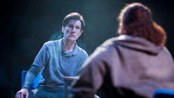 "Harriet Walter (Brutus) in ""Julius Caesar."" Credit: Helen Maybanks."
