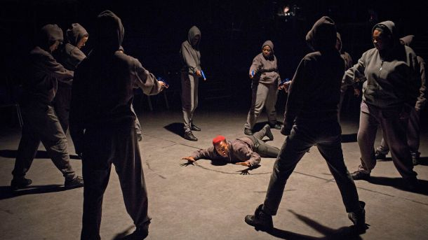 Jade Anouka (Mark Antony) and Company in Julius Caesar. Credit: Helen Maybanks