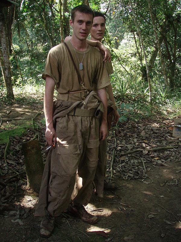 An reenactment scene of downed American airmen shot in Nanga Ulai, Sarawak, Borneo