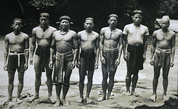Pictured are some of the Dayaks who protected the US airmen and fought the Japanese in Borneo during World War Two.