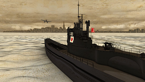 Animated rendering of an I-400 launching an attack on New York City.