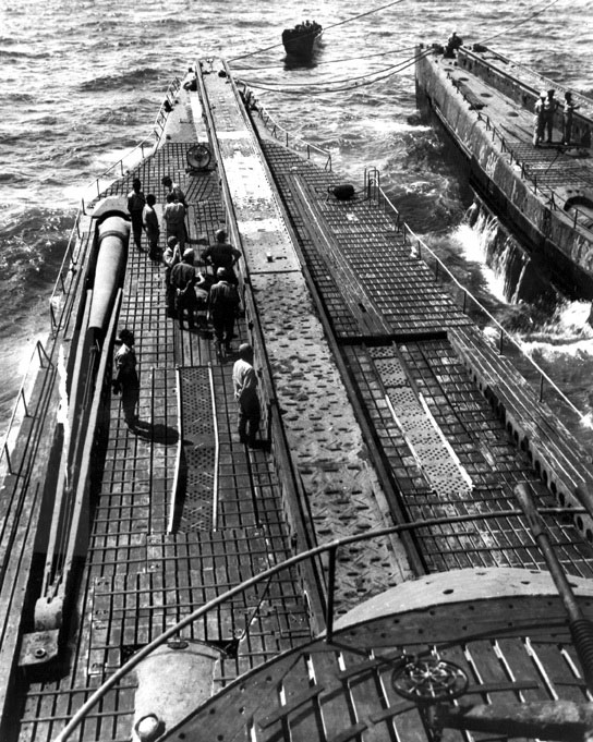I-400 submarine's long launch ramp.