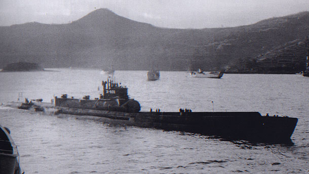 Captured I-400 submarine off the coast of Japan soon after the war's end.