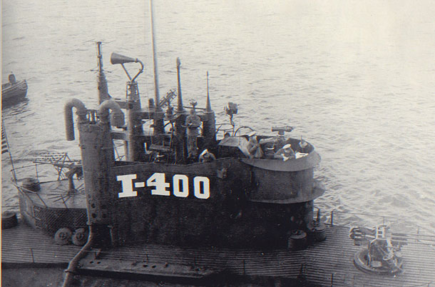 The captured I-400 with its new Anglicized lettering on the conning tower.