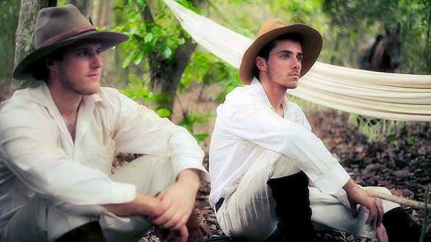 Actors portraying Percy's son Jack Fawcett (l) and his friend Raleigh Rimmel (r.) in camp.  Brazil location.