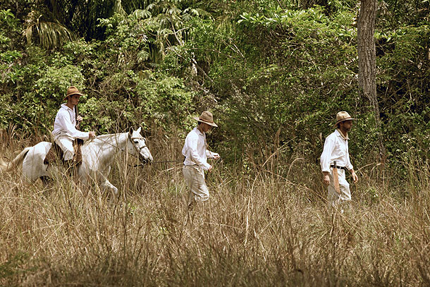 Raleigh Rimmel, Jack Fawcet and Percy Fawcett head across the Mato Grosso towards the Lost City of Z.  Brazil.