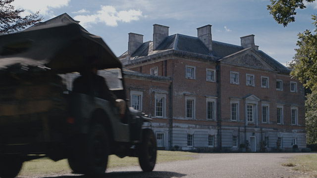 Re-enactment. WS POV of vehicle arriving at Trent Park (Drama Location: Wolterton Hall).