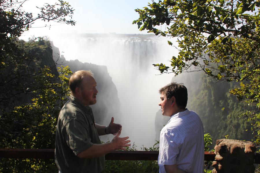 Explorer Russell Gammon & Director Tom Adams at Victoria Falls